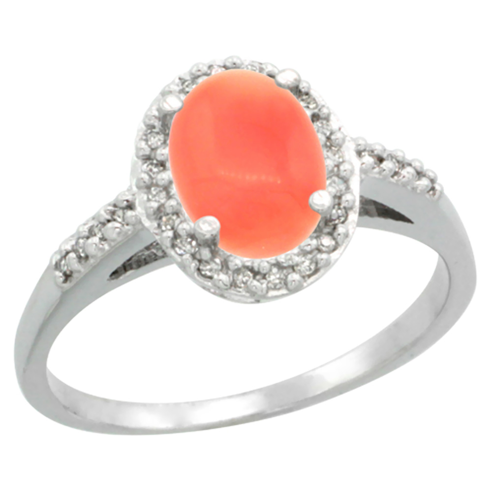 14K White Gold Diamond Natural Coral Ring Oval 8x6mm, sizes 5-10