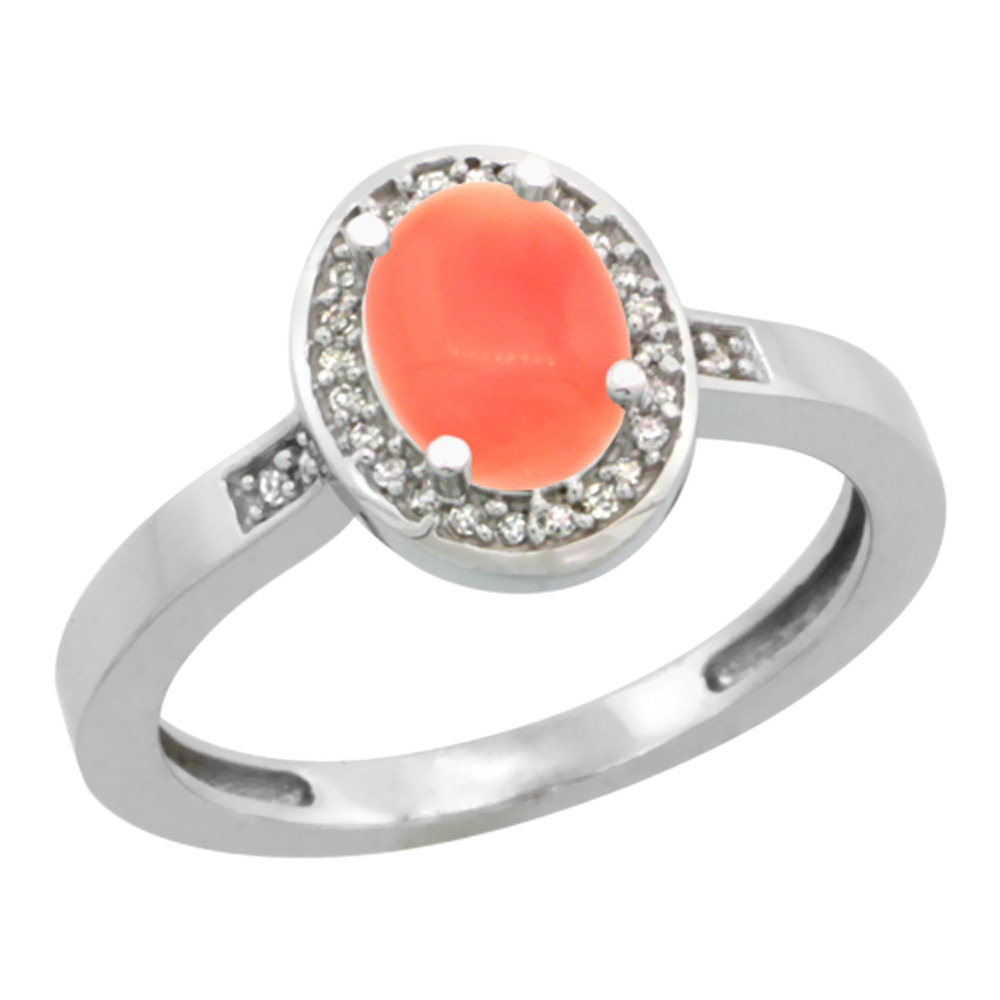 10K White Gold Diamond Natural Coral Engagement Ring Oval 7x5mm, sizes 5-10