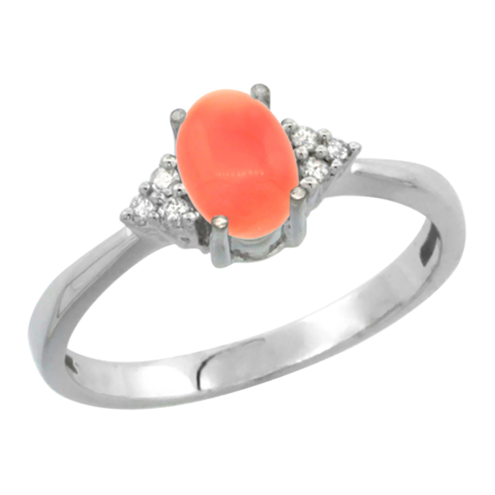 14K White Gold Diamond Natural Coral Engagement Ring Oval 7x5mm, sizes 5-10