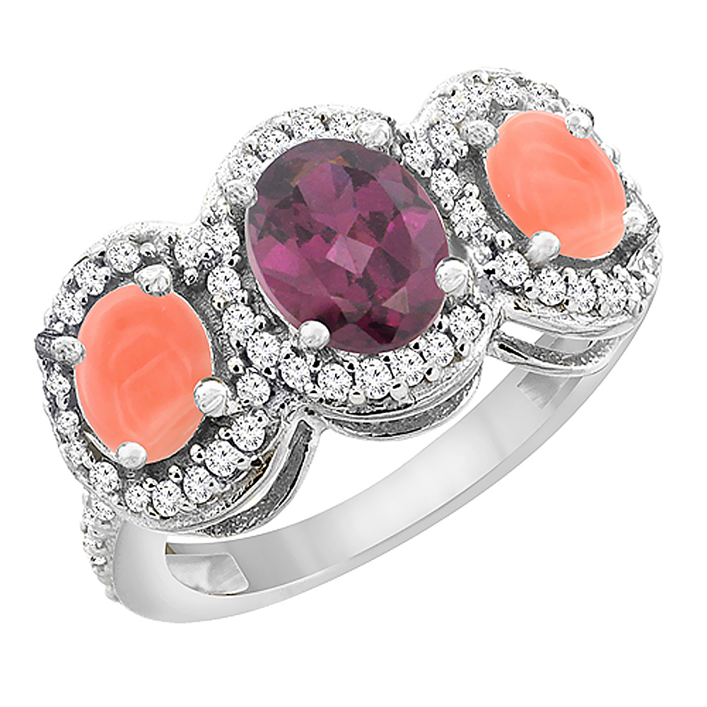 10K White Gold Natural Rhodolite & Coral 3-Stone Ring Oval Diamond Accent, sizes 5 - 10