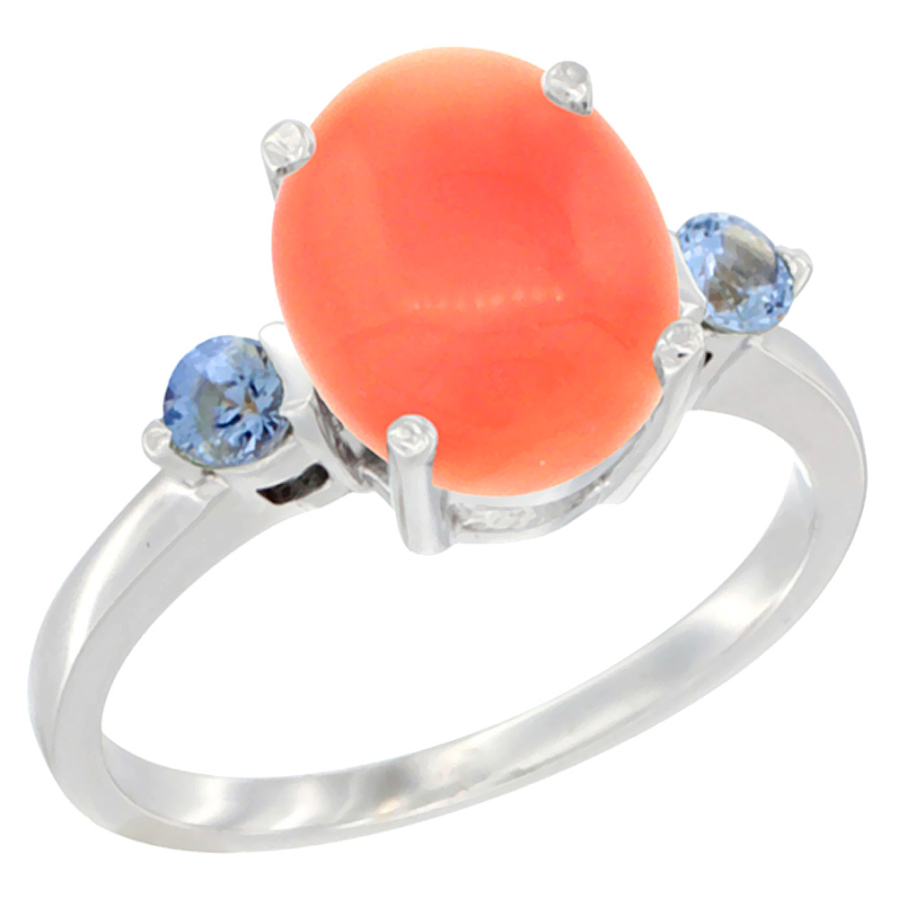 14K White Gold Natural Coral Ring Oval 10x8mm Light Blue Sapphire Accent, sizes 5 - 10