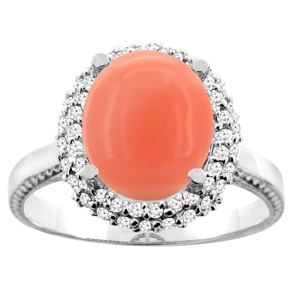 14K White/Yellow Gold Natural Coral Double Halo Ring Oval 10x8mm Diamond Accent, sizes 5 - 10