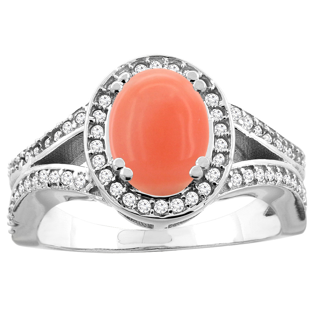 14k Gold Diamond Halo Genuine Coral Ring Split Shank Oval 8x6mm, size 5-10