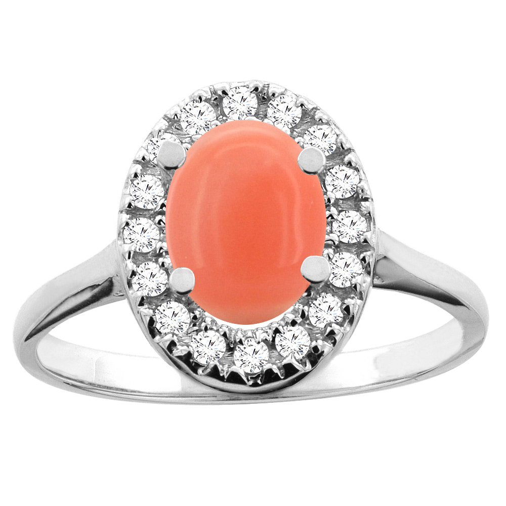 14K White/Yellow Gold Natural Coral Ring Oval 8x6mm Diamond Accent, sizes 5 - 10