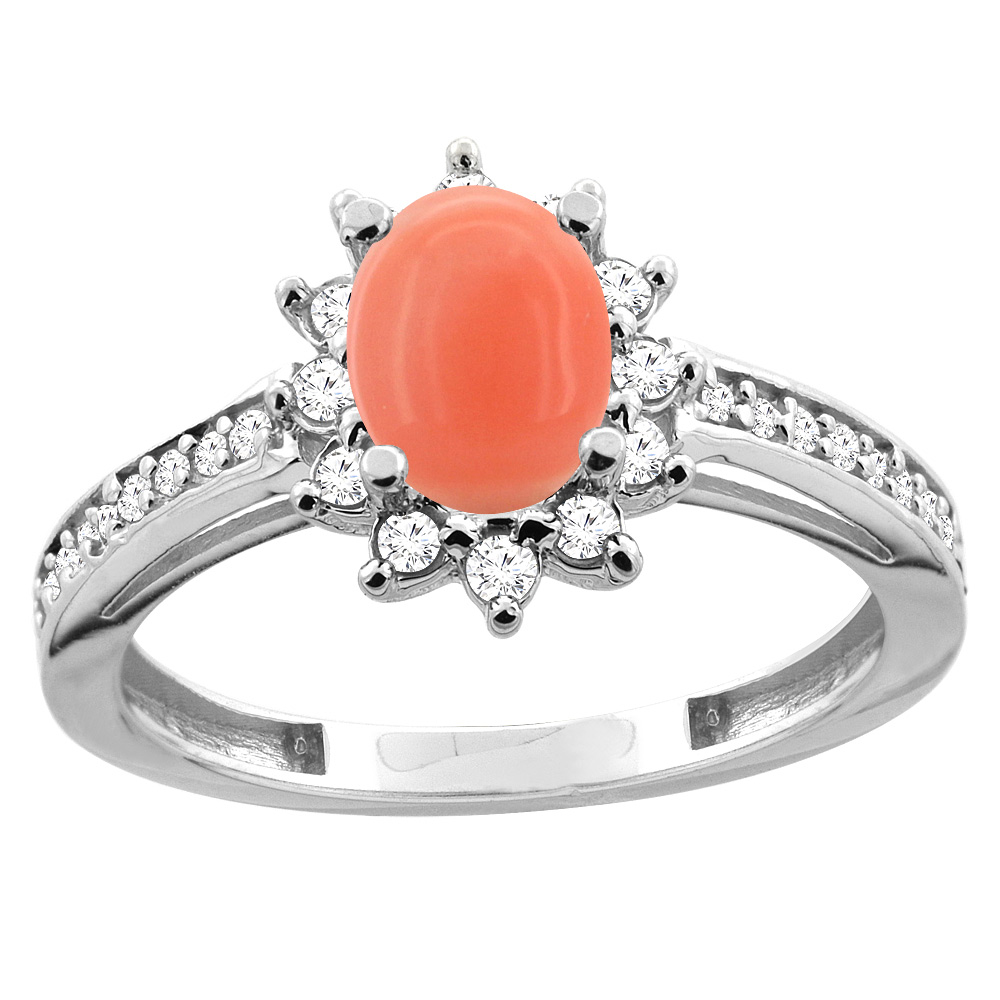 14K White/Yellow Gold Diamond Natural Coral Floral Halo Engagement Ring Oval 7x5mm, sizes 5 - 10