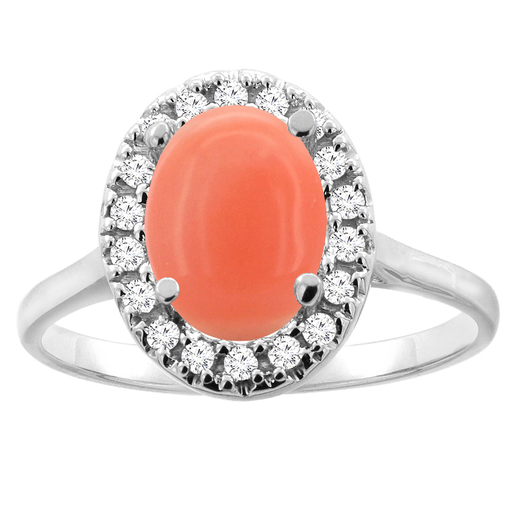 14K Gold Natural Coral Halo Ring Oval 9x7mm Diamond Accent, sizes 5 - 10
