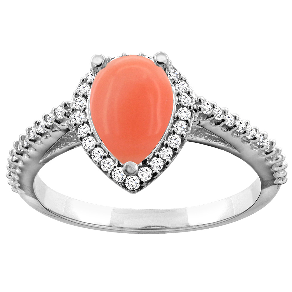 14K White Gold Natural Coral Ring Pear 9x7mm Diamond Accents, sizes 5 - 10