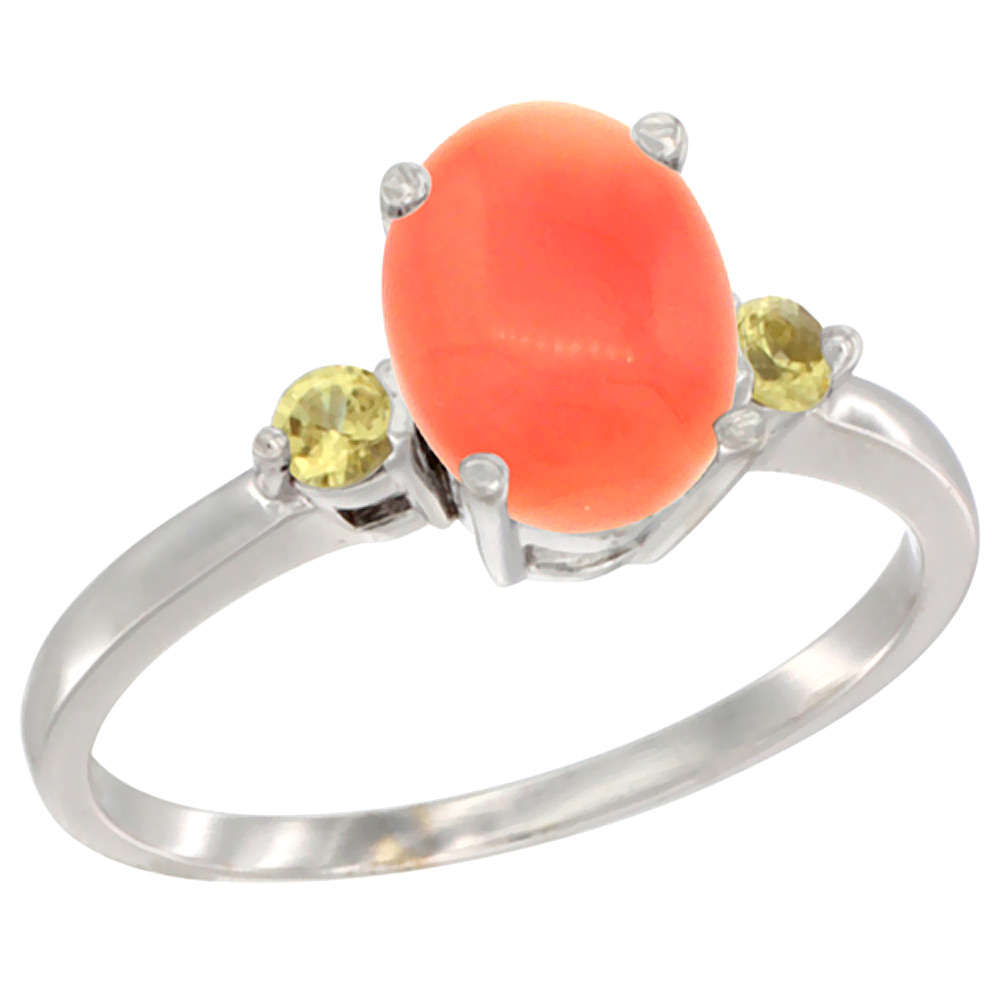 14K White Gold Natural Coral Ring Oval 9x7 mm Yellow Sapphire Accent, sizes 5 to 10