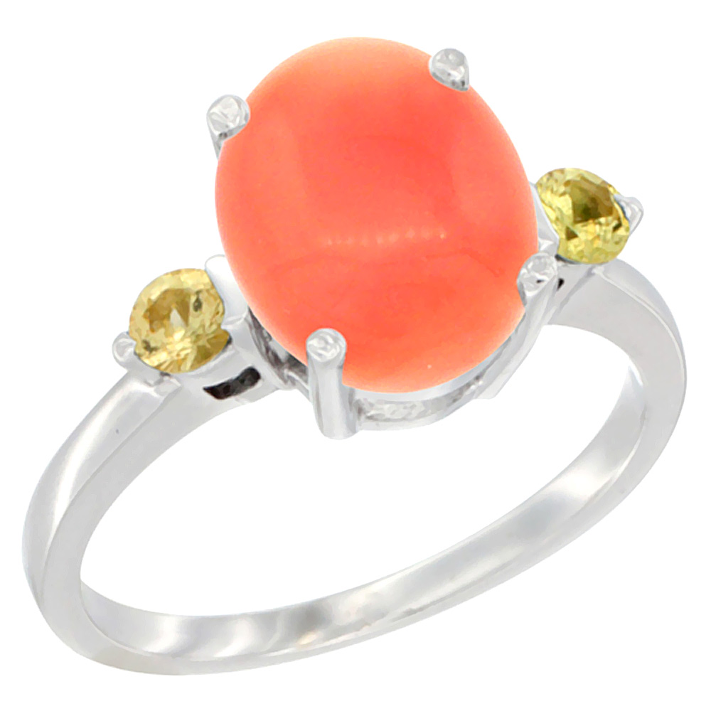 14K White Gold Natural Coral Ring Oval 10x8mm Yellow Sapphire Accent, sizes 5 - 10