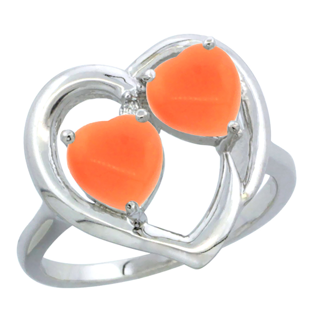 14K White Gold Diamond Two-stone Heart Ring 6mm Natural Coral, sizes 5-10