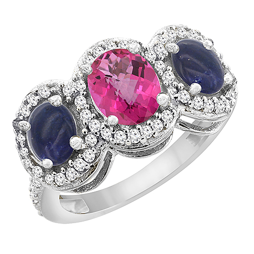 14K White Gold Natural Pink Sapphire & Lapis 3-Stone Ring Oval Diamond Accent, sizes 5 - 10