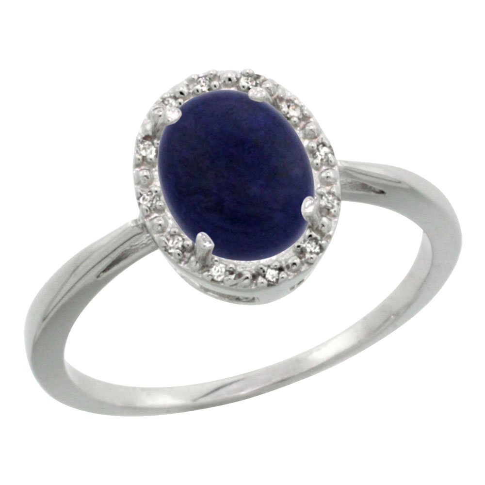 14K White Gold Natural Lapis Diamond Halo Ring Oval 8X6mm, sizes 5 10