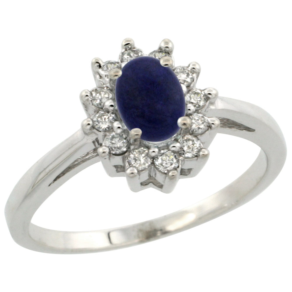 14K White Gold Natural Lapis Flower Diamond Halo Ring Oval 6x4 mm, sizes 5 10