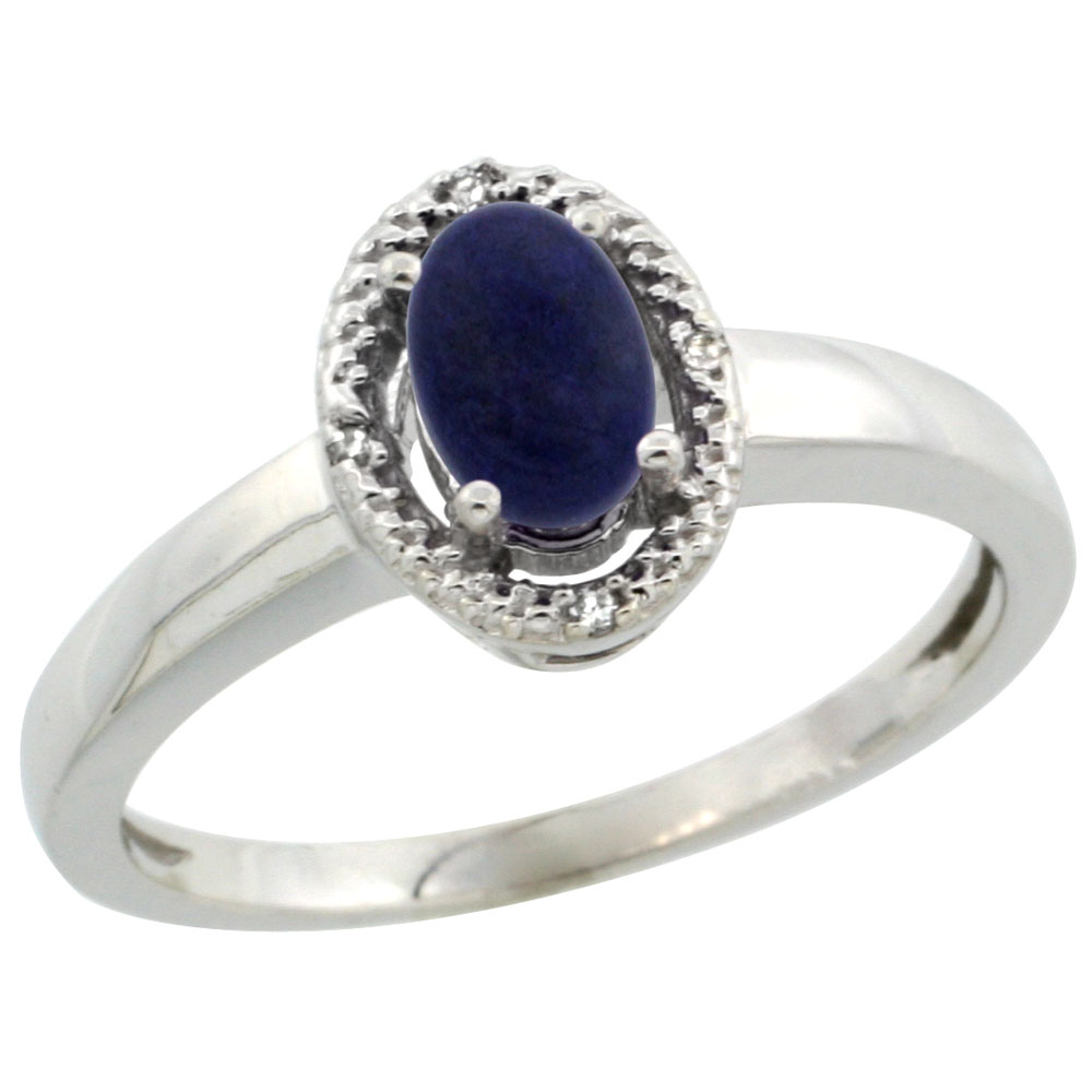 10K White Gold Diamond Halo Natural Lapis Engagement Ring Oval 6X4 mm, sizes 5-10