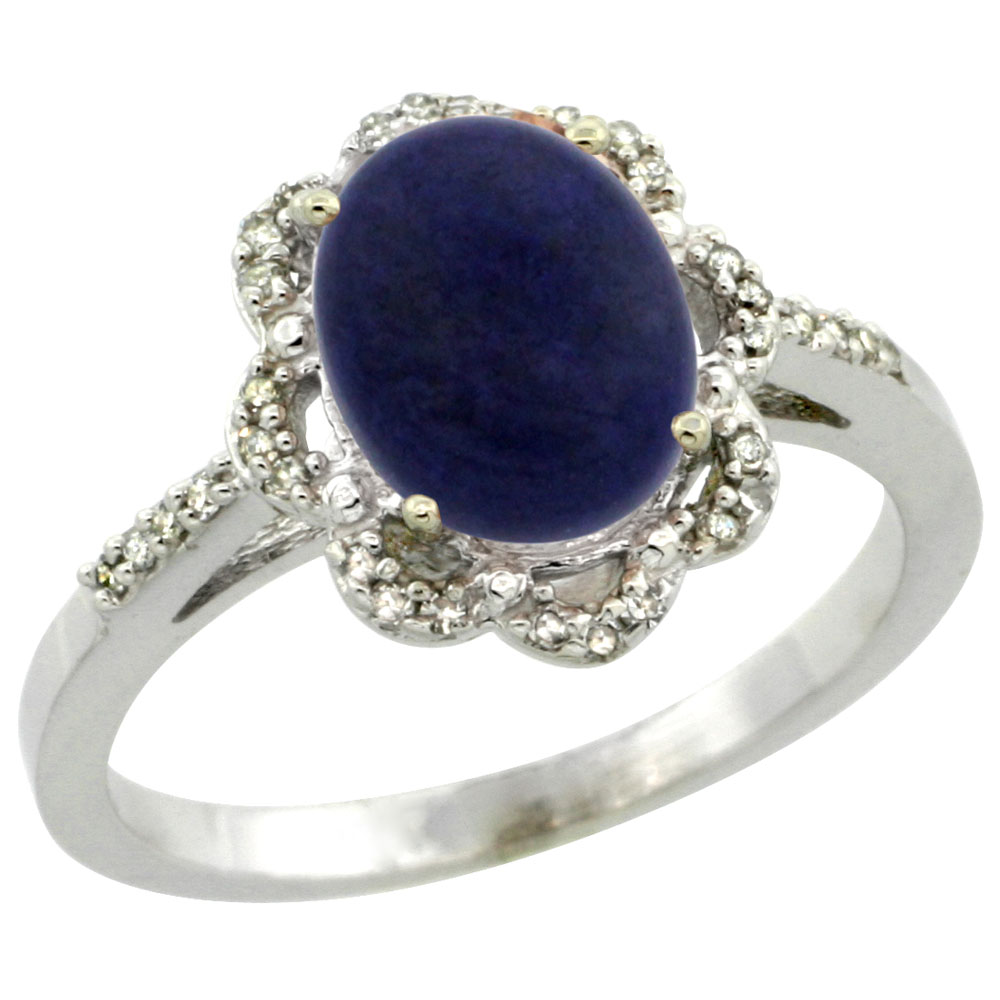 10K White Gold Diamond Halo Natural Lapis Engagement Ring Oval 9x7mm, sizes 5-10