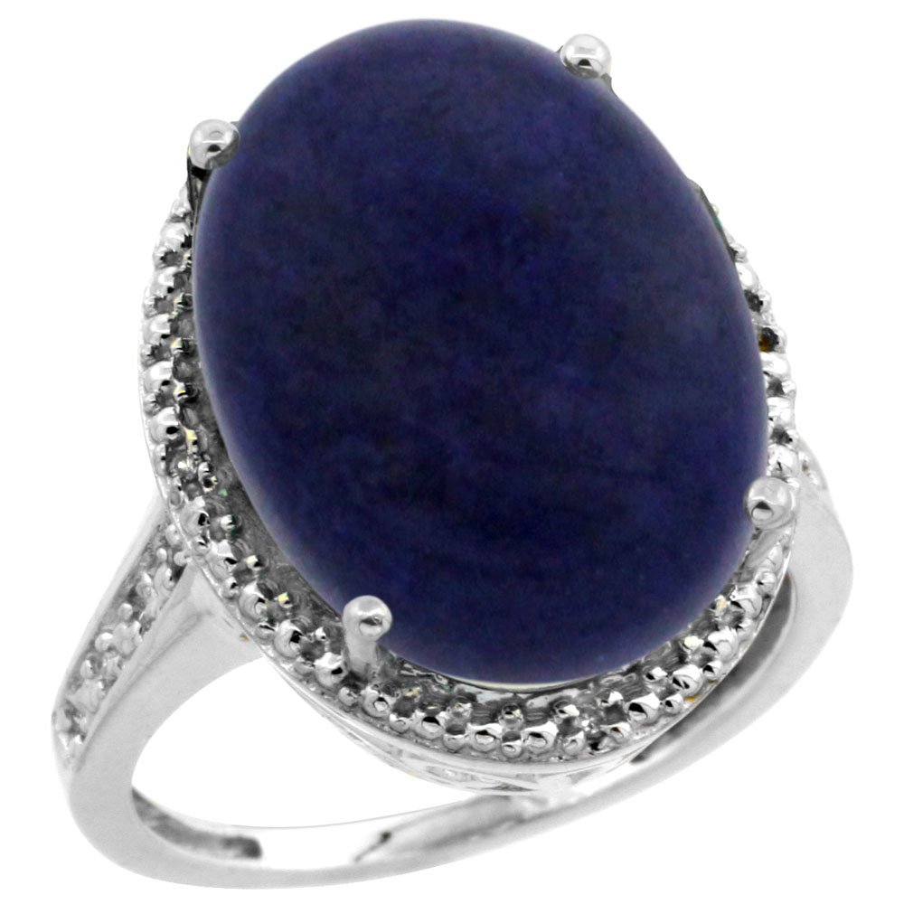 10K White Gold Diamond Natural Lapis Ring Oval 18x13mm, sizes 5-10