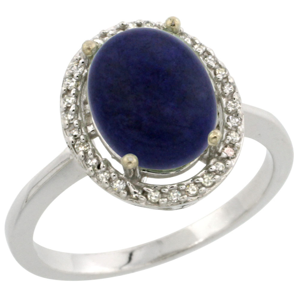 10K White Gold Diamond Natural Lapis Engagement Ring Oval 10x8mm, sizes 5-10