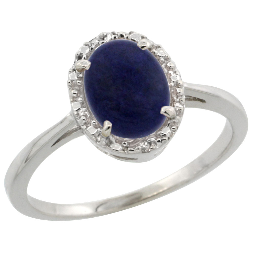14K White Gold Natural Lapis Ring Oval 8x6 mm Diamond Halo, sizes 5-10