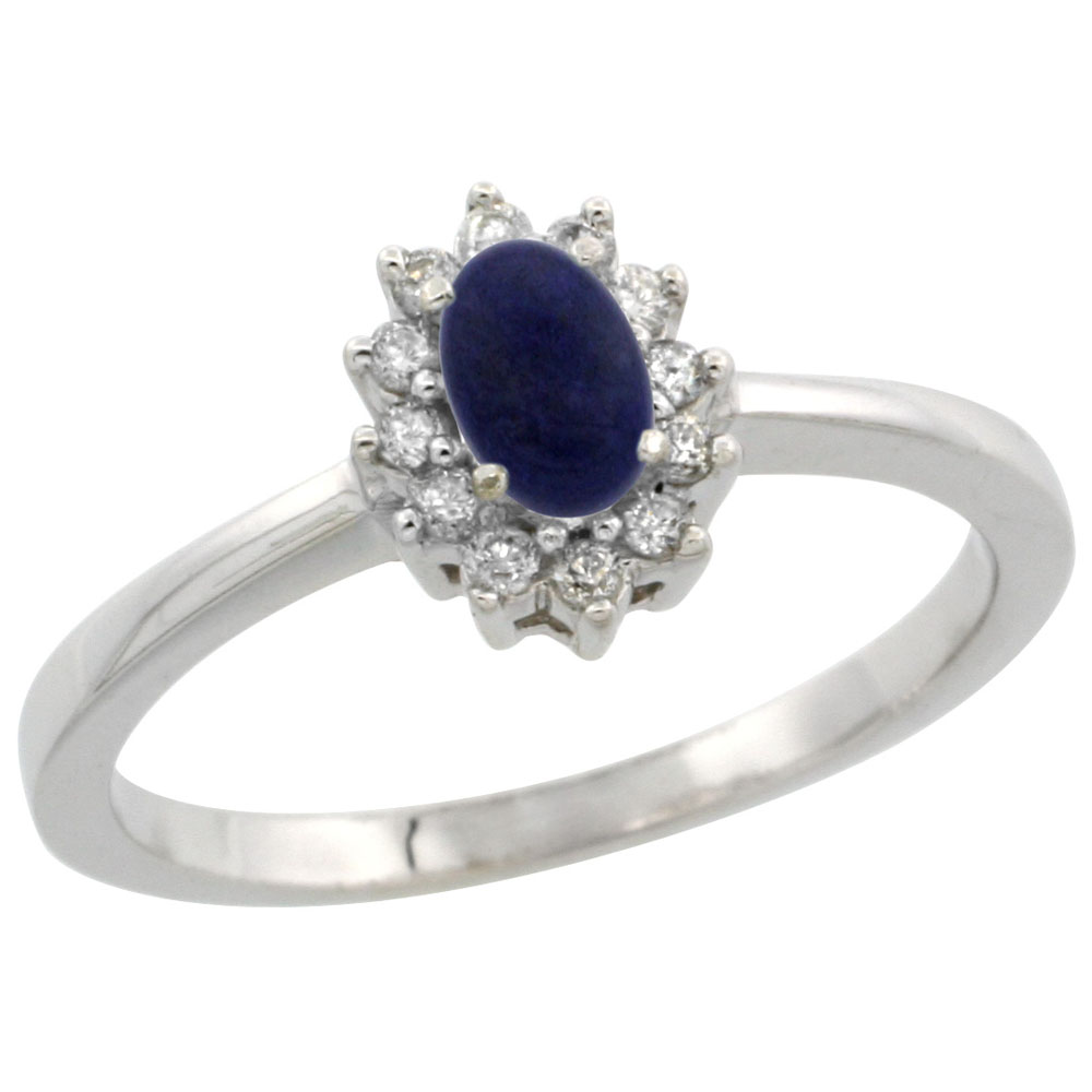 10k White Gold Natural Lapis Ring Oval 5x3mm Diamond Halo, sizes 5-10