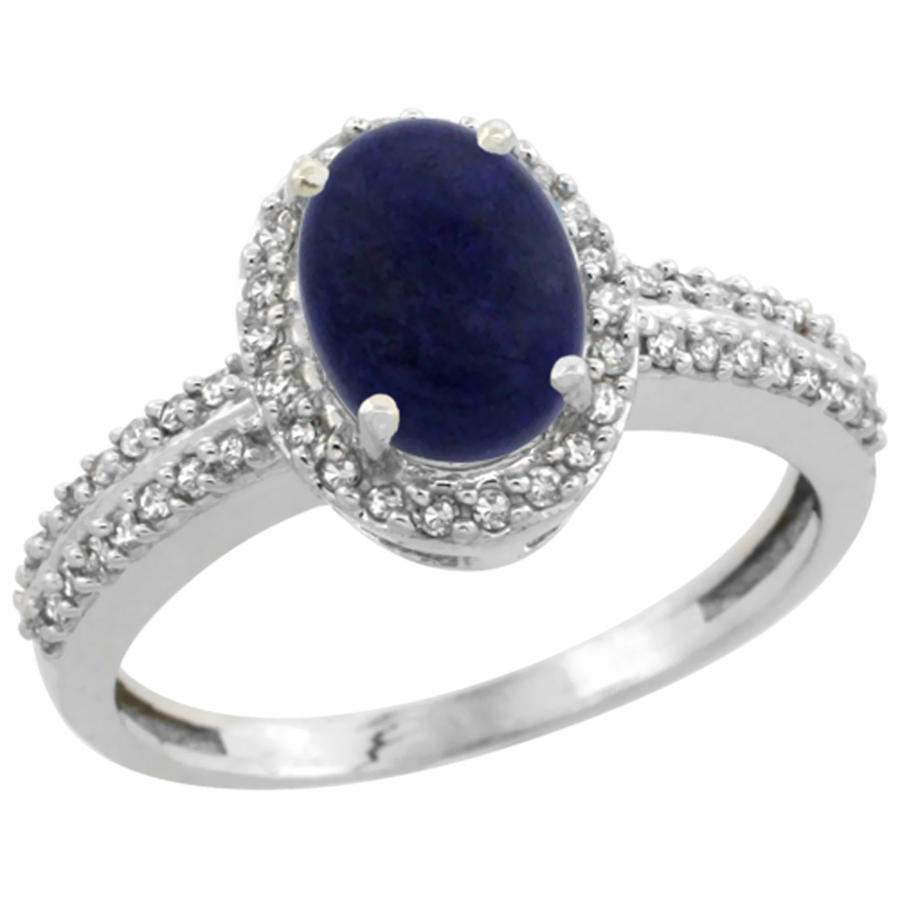 10k White Gold Natural Lapis Ring Oval 8x6mm Diamond Halo, sizes 5-10