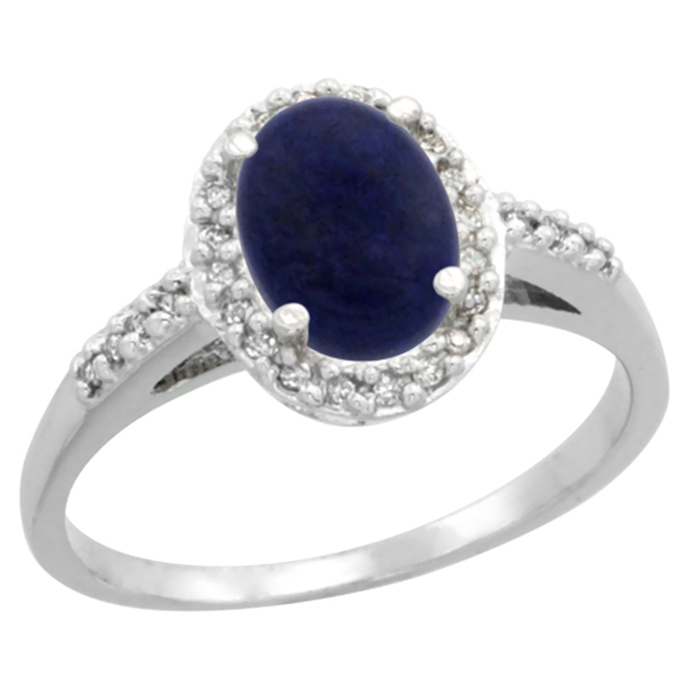 10K White Gold Diamond Natural Lapis Ring Oval 8x6mm, sizes 5-10