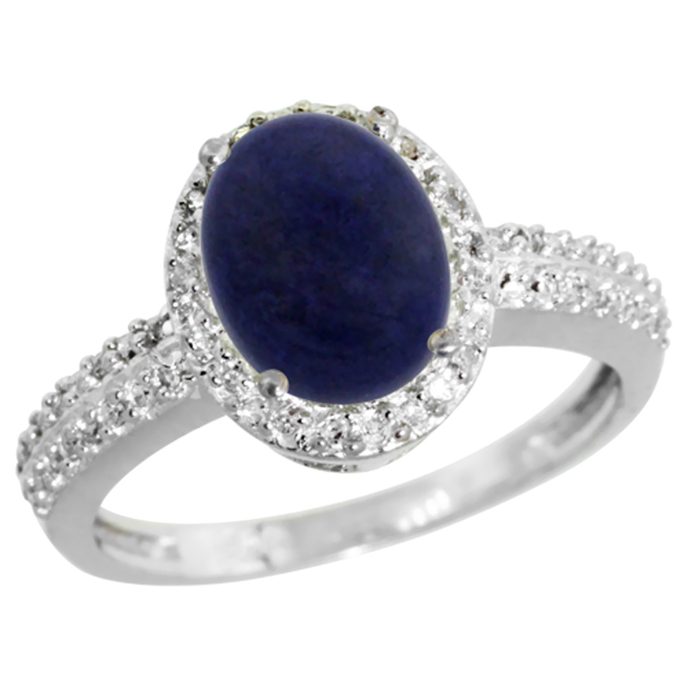 14K White Gold Diamond Natural Lapis Ring Oval 9x7mm, sizes 5-10