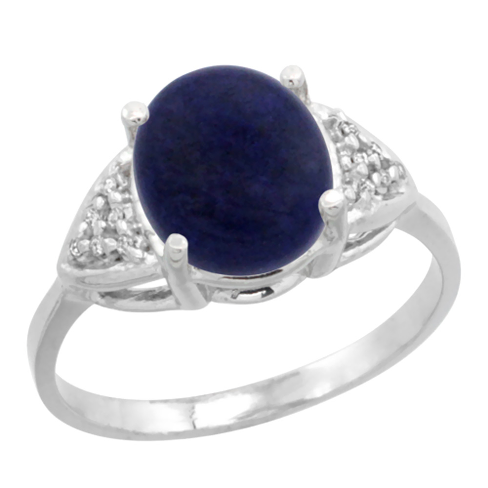 14k White Gold Diamond Natural Lapis Engagement Ring Oval 10x8mm, sizes 5-10