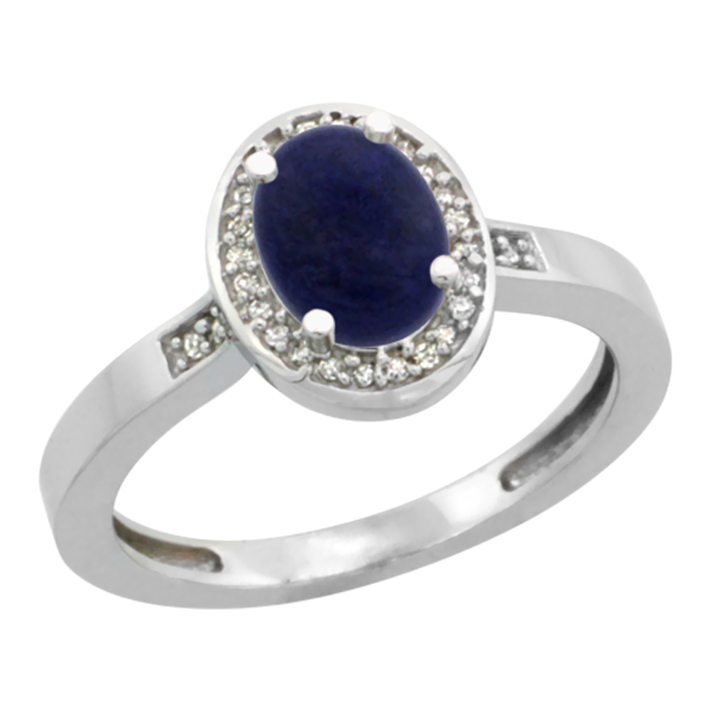 10K White Gold Diamond Natural Lapis Engagement Ring Oval 7x5mm, sizes 5-10