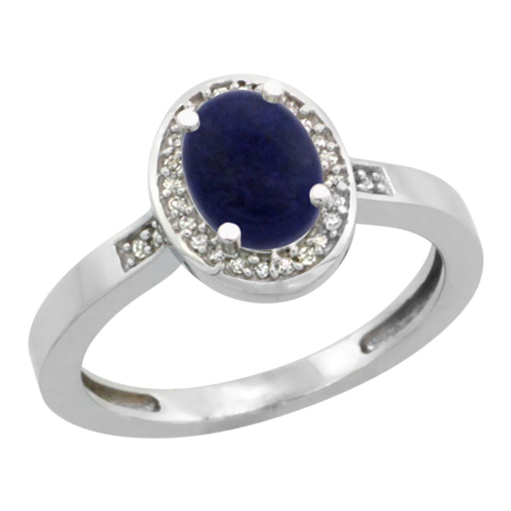 10K White Gold Diamond Natural Lapis Engagement Ring Oval 7x5mm, sizes 5-10