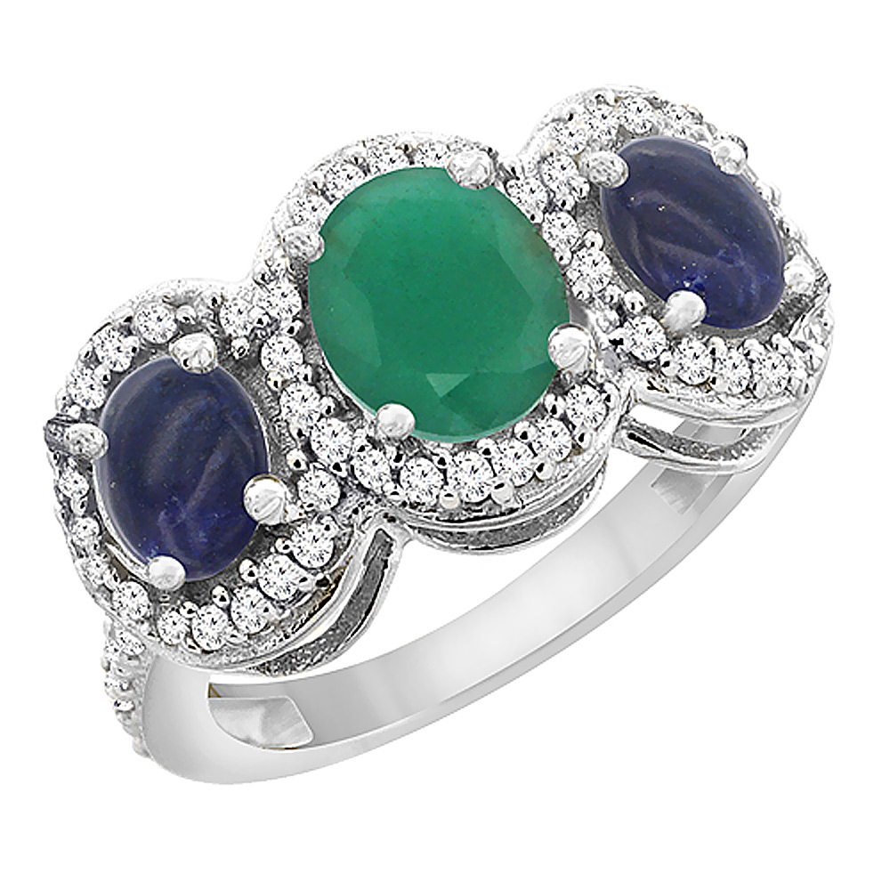 14K White Gold Natural Cabochon Emerald & Lapis 3-Stone Ring Oval Diamond Accent, sizes 5 - 10