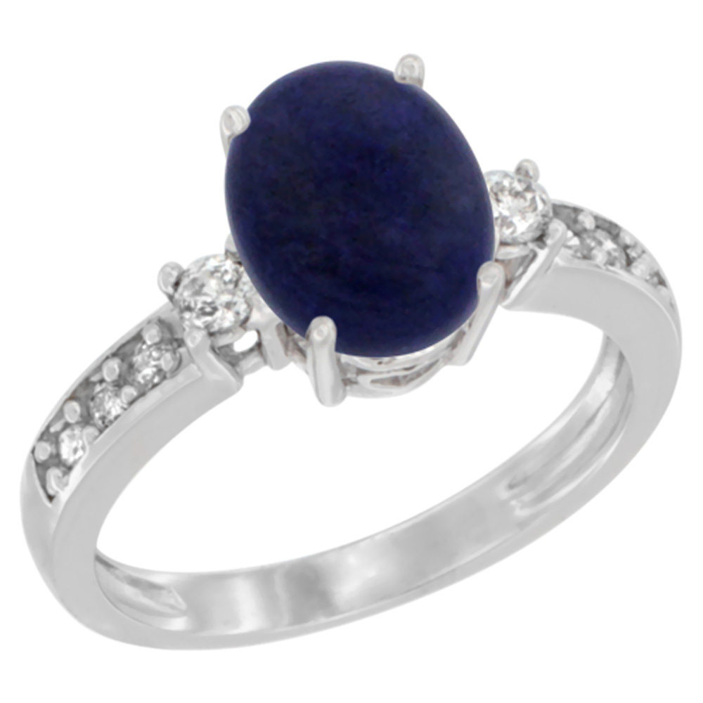 14K White Gold Natural Lapis Ring Oval 9x7 mm Diamond Accent, sizes 5 - 10
