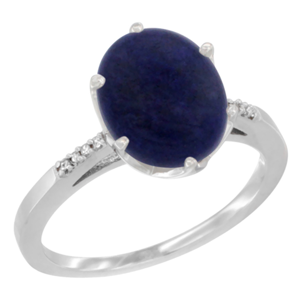 14K White Gold Natural Lapis Engagement Ring 10x8 mm Oval, sizes 5 - 10