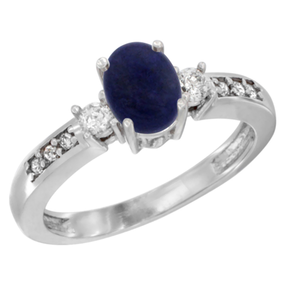 14K White Gold Diamond Natural Lapis Engagement Ring Oval 7x5 mm, sizes 5 - 10