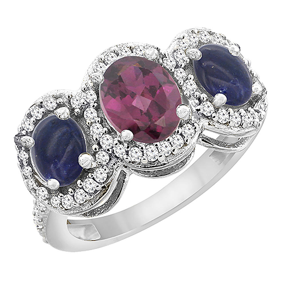 14K White Gold Natural Rhodolite & Lapis 3-Stone Ring Oval Diamond Accent, sizes 5 - 10
