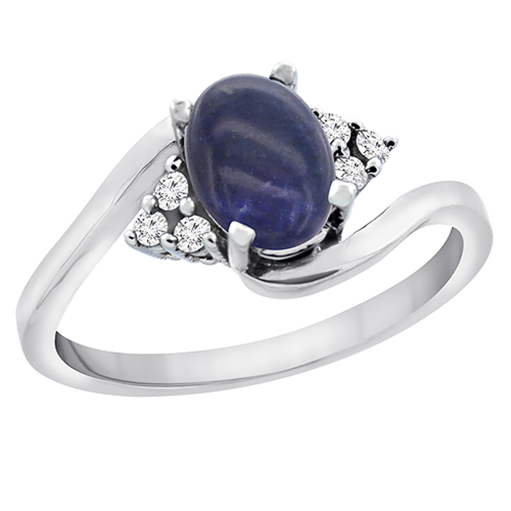14K White Gold Diamond Natural Lapis Engagement Ring Oval 7x5mm, sizes 5 - 10
