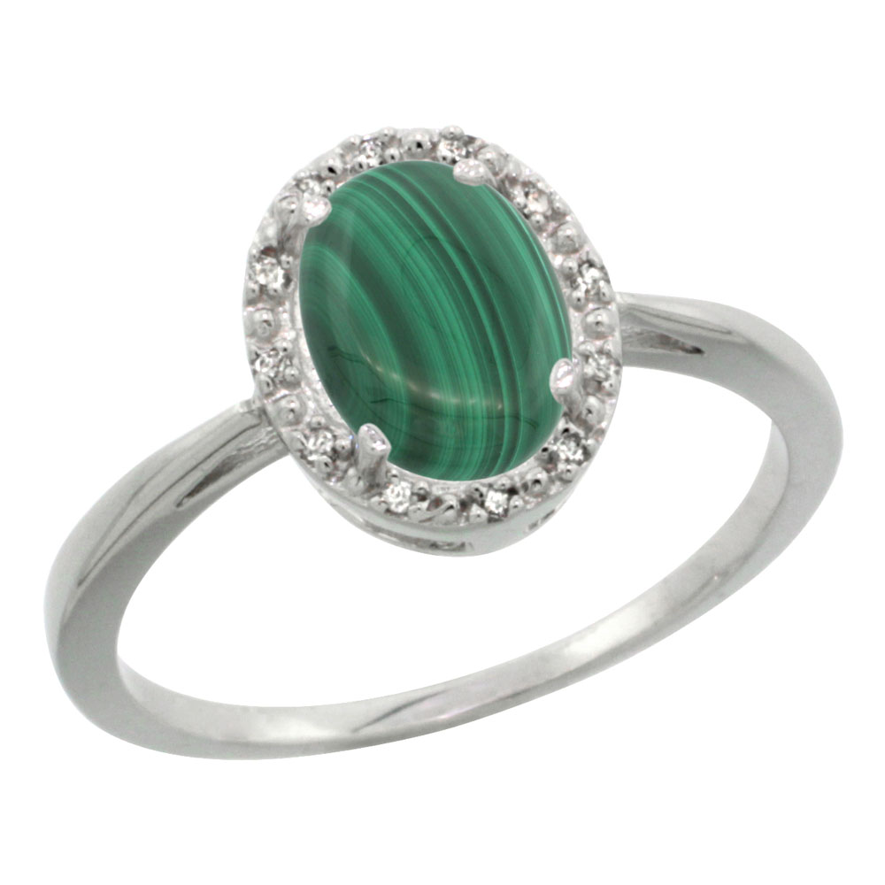 10K White Gold Natural Malachite Diamond Halo Ring Oval 8X6mm, sizes 5 10