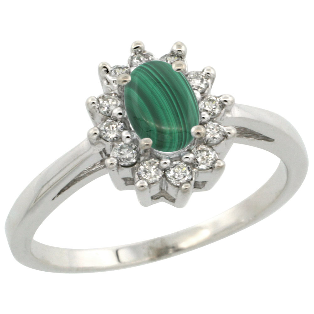 14K White Gold Natural Malachite Flower Diamond Halo Ring Oval 6x4 mm, sizes 5 10