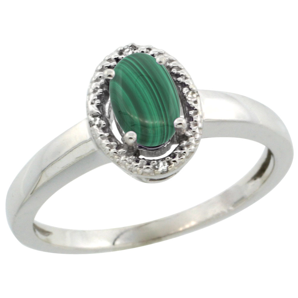 14K White Gold Diamond Halo Natural Malachite Engagement Ring Oval 6X4 mm, sizes 5-10
