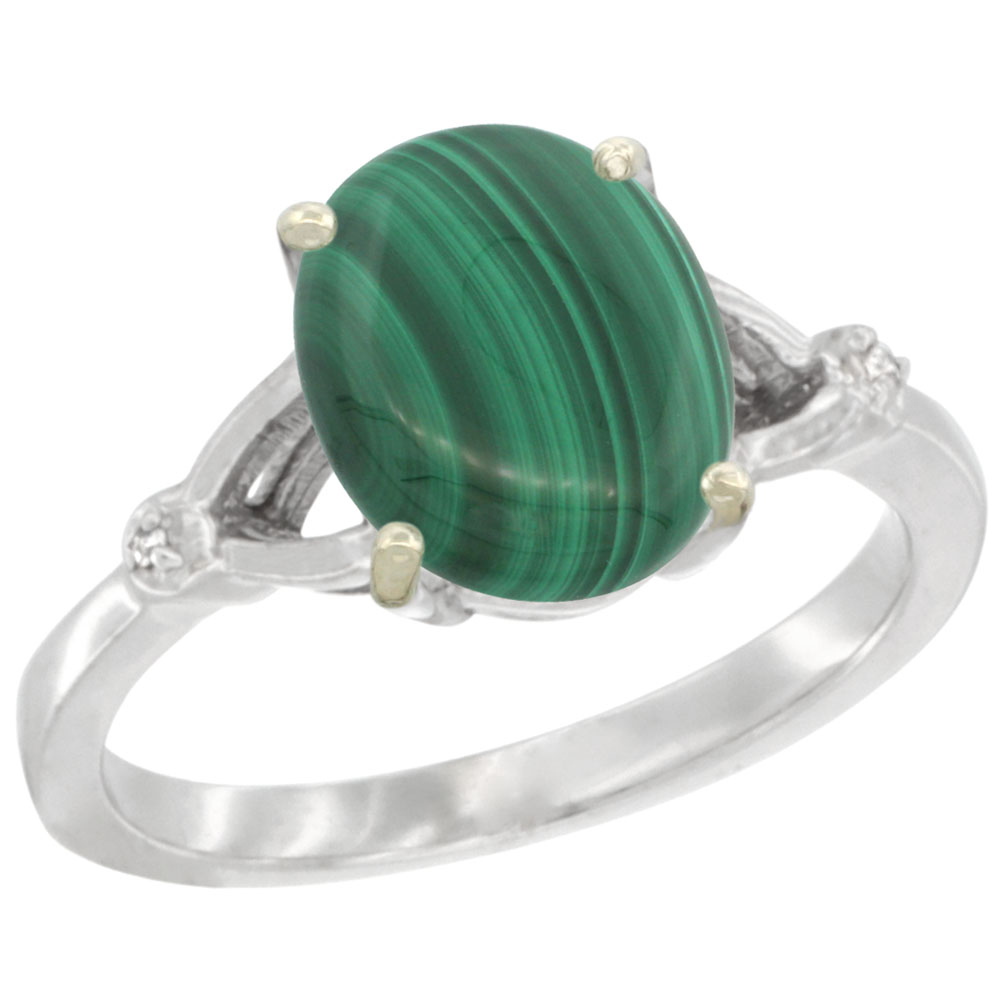 10K White Gold Diamond Natural Malachite Engagement Ring Oval 10x8mm, sizes 5-10