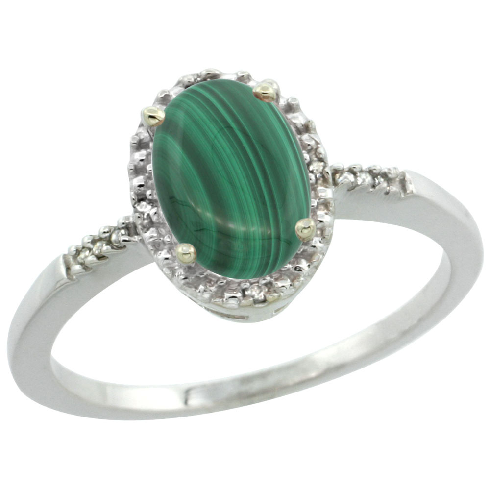 14K White Gold Diamond Natural Malachite Ring Oval 8x6mm, sizes 5-10
