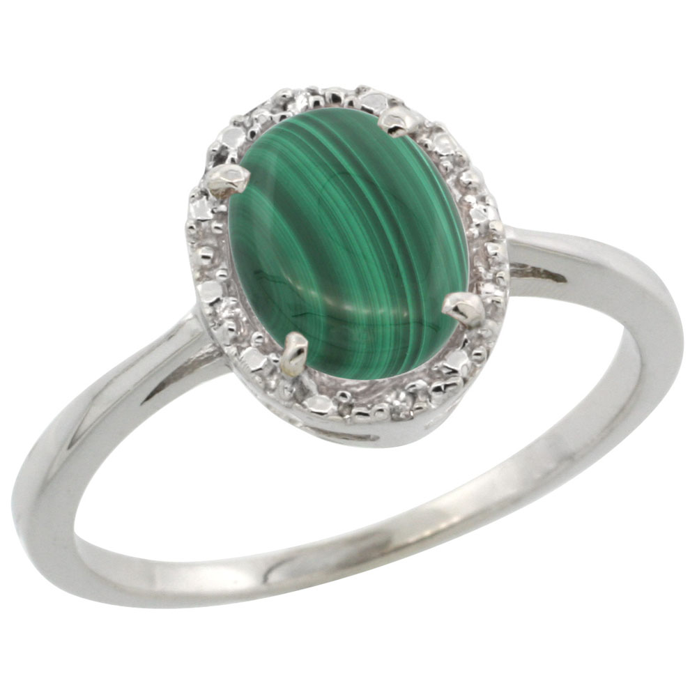 14K White Gold Natural Malachite Ring Oval 8x6 mm Diamond Halo, sizes 5-10
