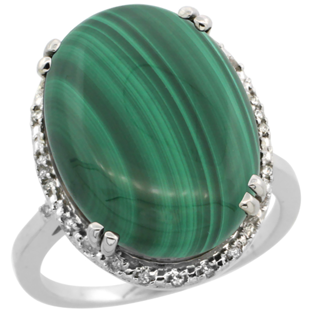 10k White Gold Natural Malachite Ring Large Oval 18x13mm Diamond Halo, sizes 5-10