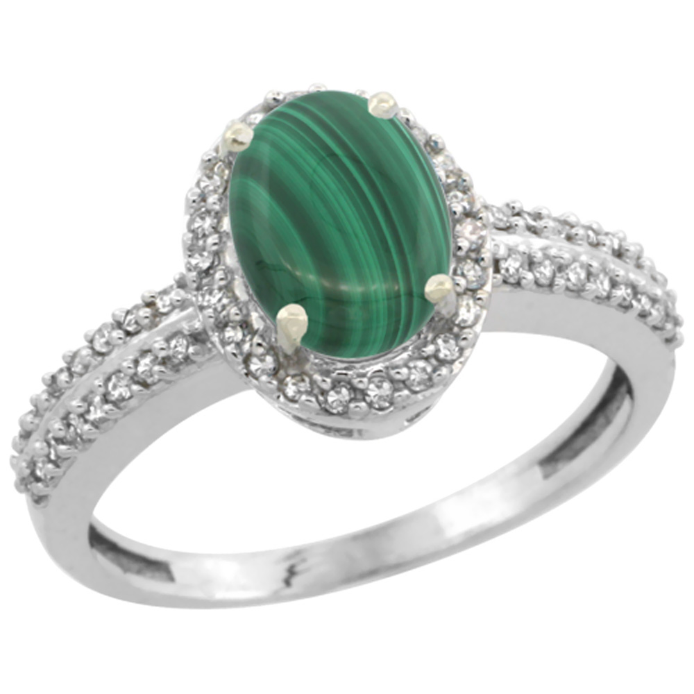 10k White Gold Natural Malachite Ring Oval 8x6mm Diamond Halo, sizes 5-10