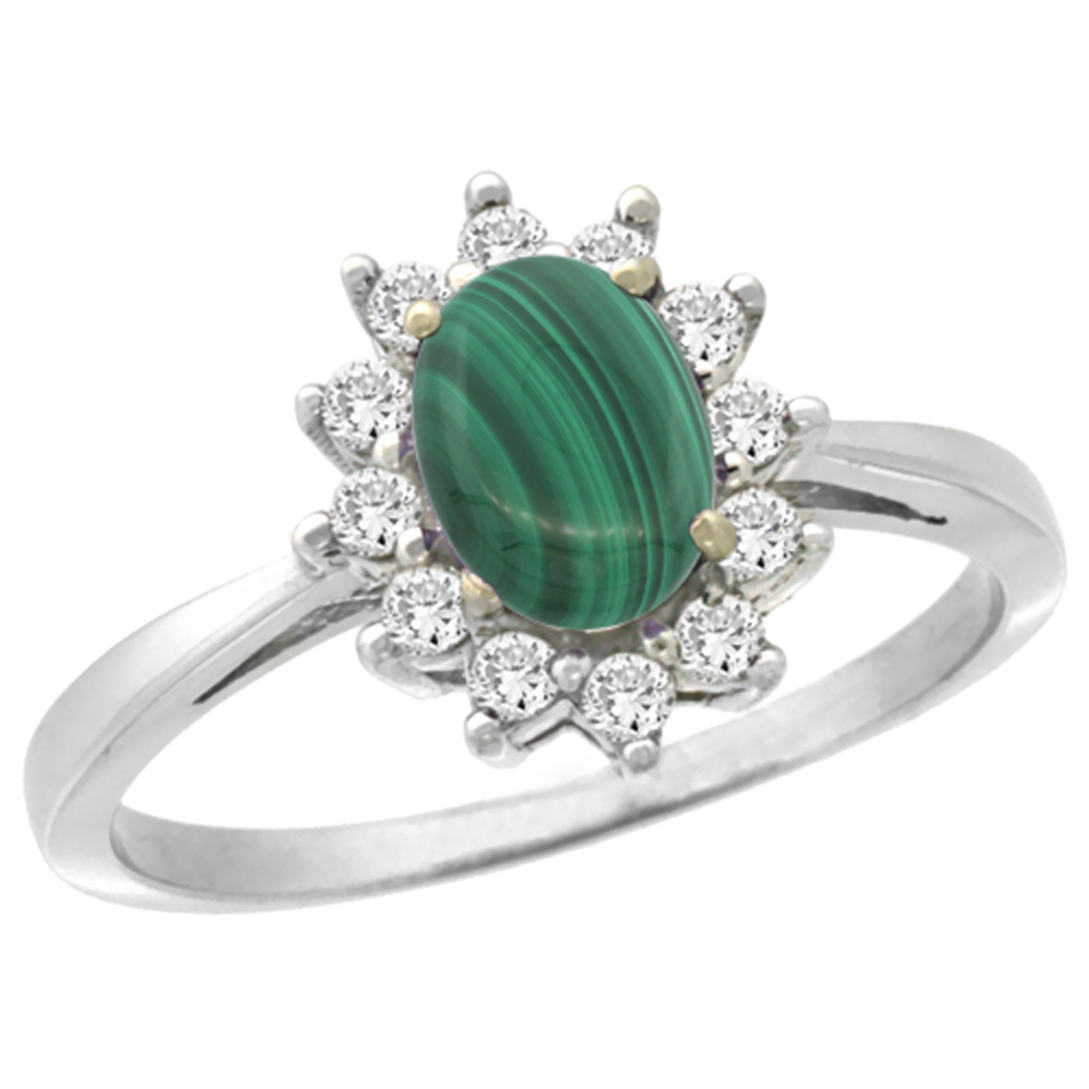 14K White Gold Natural Malachite Engagement Ring Oval 7x5mm Diamond Halo, sizes 5-10