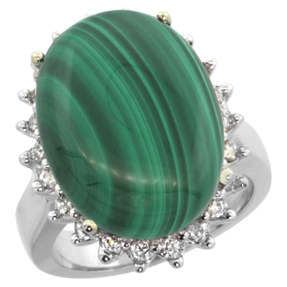 14k White Gold Diamond Halo Natural Malachite Ring Large Oval 18x13mm, sizes 5-10
