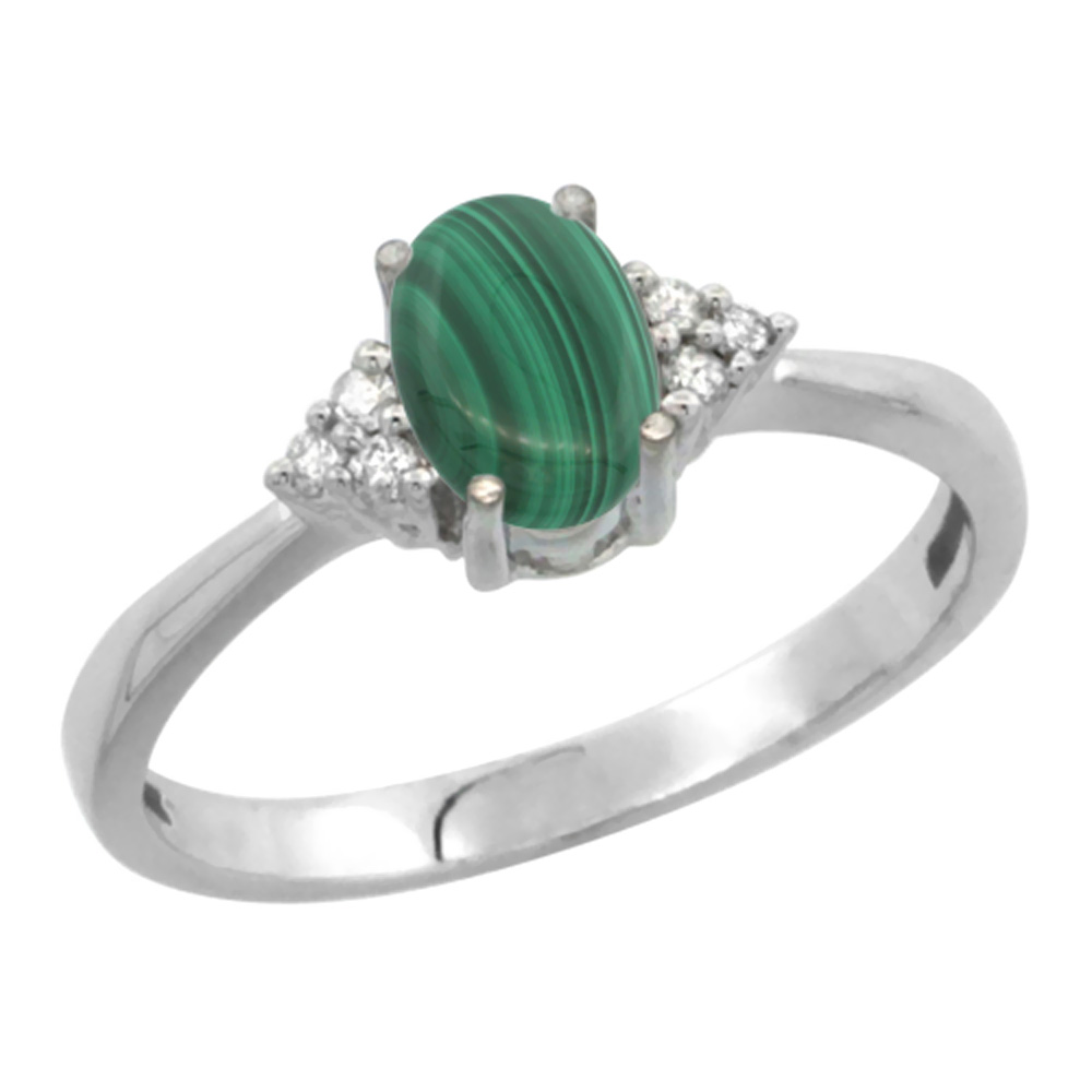 14K White Gold Diamond Natural Malachite Engagement Ring Oval 7x5mm, sizes 5-10