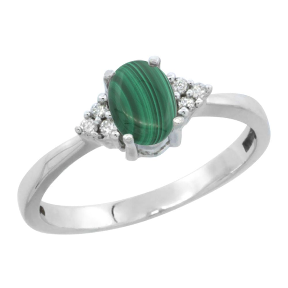 14K White Gold Natural Malachite Ring Oval 6x4mm Diamond Accent, sizes 5-10
