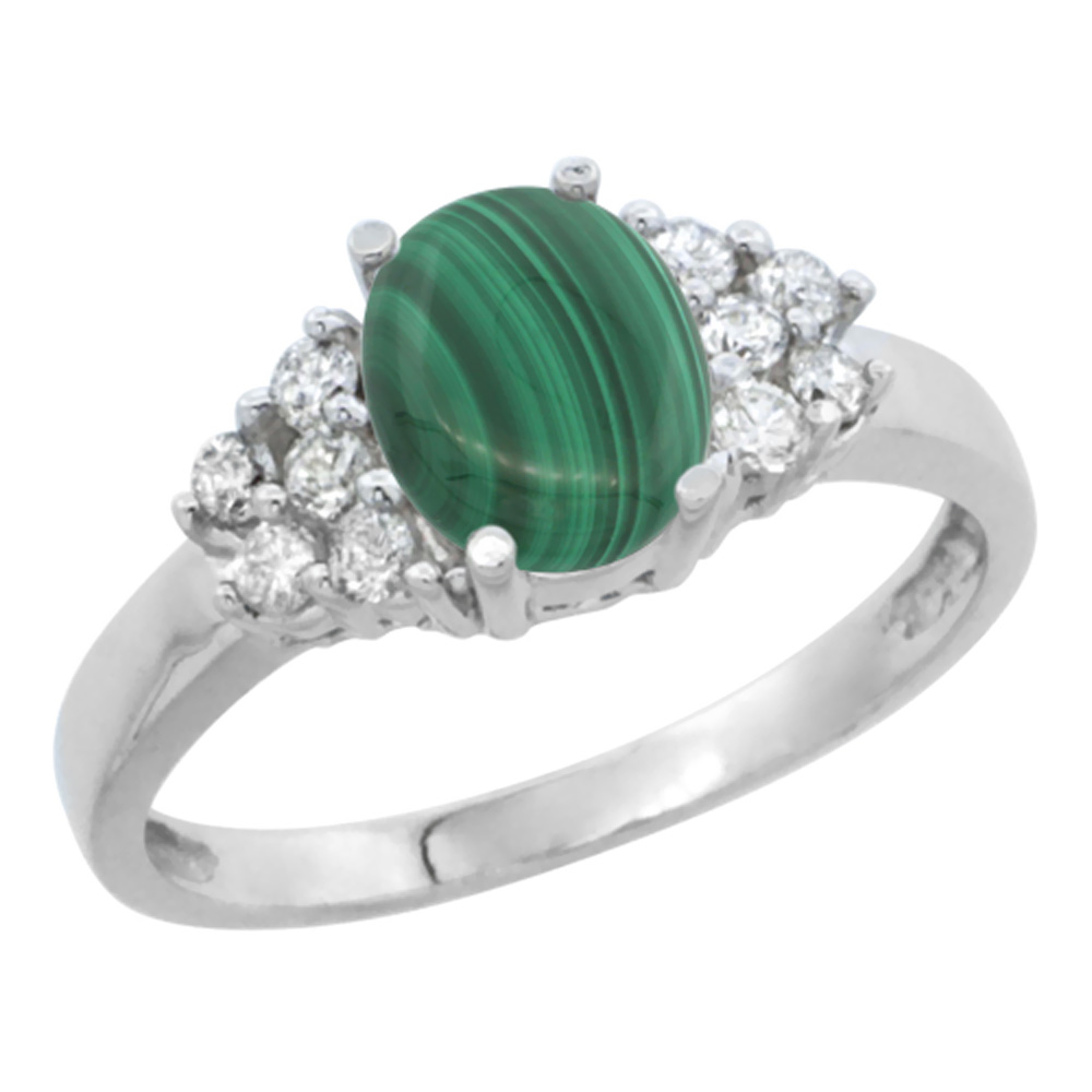 14K White Gold Natural Malachite Ring Oval 8x6mm Diamond Accent, sizes 5-10
