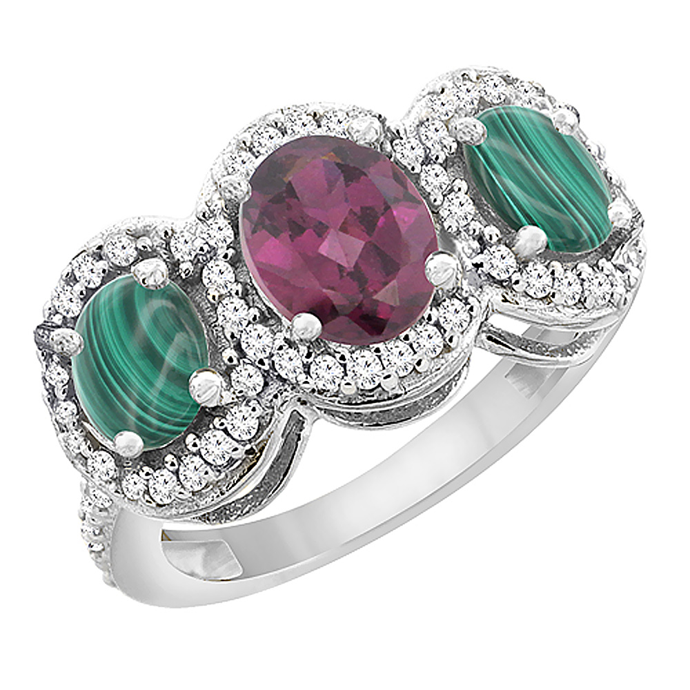 10K White Gold Natural Rhodolite & Malachite 3-Stone Ring Oval Diamond Accent, sizes 5 - 10