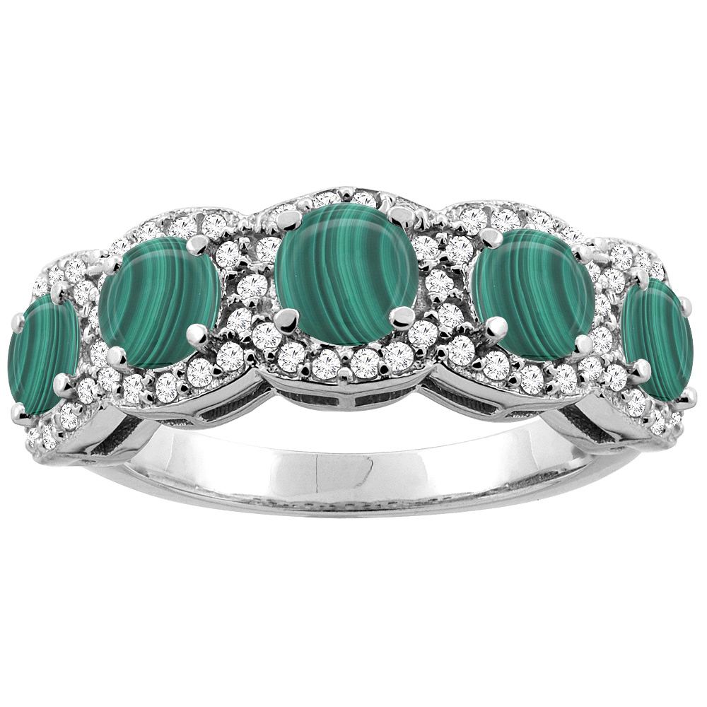 14K Gold Natural Malachite 5-Stone Ring Round 4mm, sizes 5 - 10